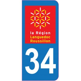 Sticker immatriculation 34 - Hérault
