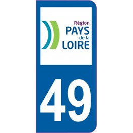 Sticker immatriculation 49 - Maine-et-Loire
