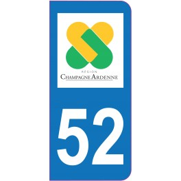 Sticker immatriculation 52 - Haute-Marne