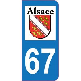 Sticker immatriculation 67 - Bas-Rhin