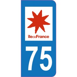 Sticker immatriculation 75 - Paris